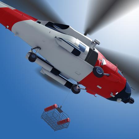 Foto de 3d illustration of lowering a rescue basket from helicopter in sky. - Imagen libre de derechos