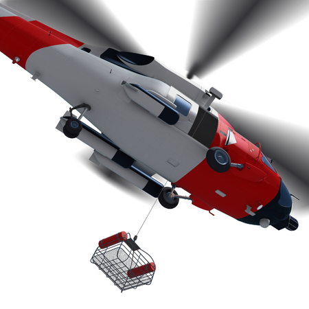 Foto de 3d illustration of Coast guard helicopter with rescue basket during for rescue isolated. - Imagen libre de derechos