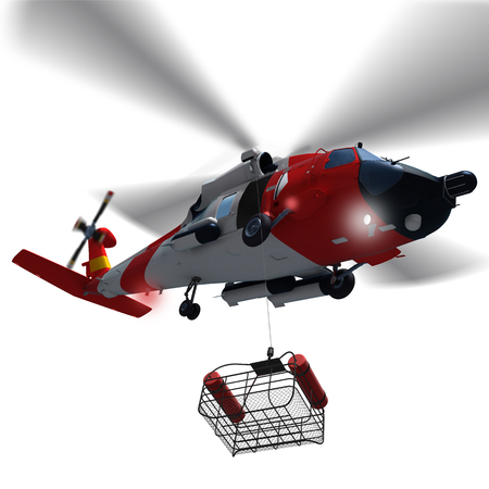 Foto de 3d illustration of Coast guard helicopter lowering a rescue basket isolated. - Imagen libre de derechos