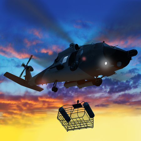 Foto de 3d illustration of Coast guard helicopter lowering a rescue basket in sunset. - Imagen libre de derechos