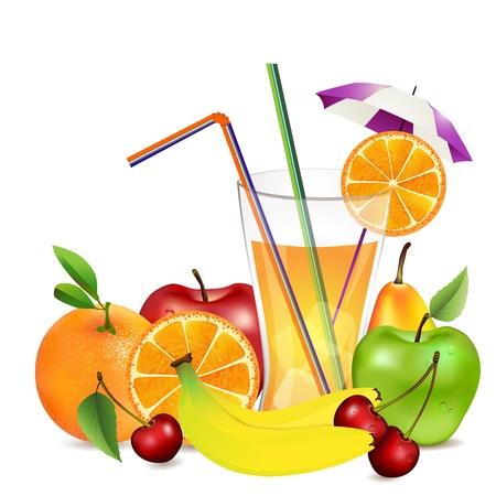 Illustration pour Fresh fruit and juice - image libre de droit