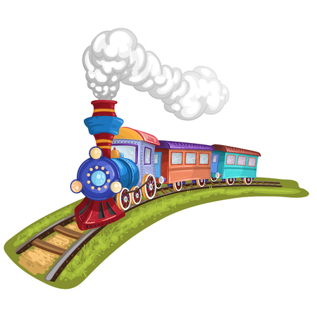 Illustration pour Cartoon train with colorful carriage in railroad - image libre de droit