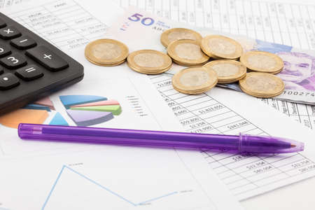 Photo for Monthly budget spreadsheet, money, pen and calculator - Royalty Free Image