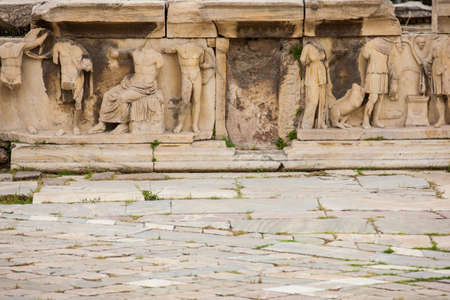 Photo pour Detail of the reliefs which decorete the Theatre of Dionysus Eleuthereus the major theatre in Athens and considered the first theatre of the world which is built at the foot of the Athenian Acropolis dated to the 6th century BC - image libre de droit
