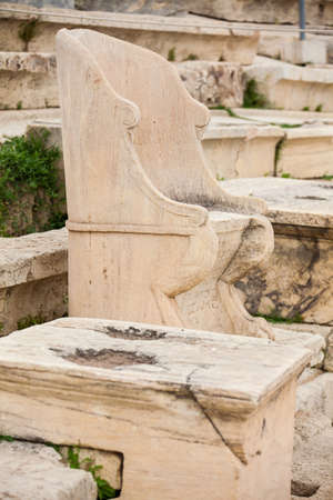 Photo pour Detail of the seating at the Theatre of Dionysus Eleuthereus the major theatre in Athens and considered the first theatre of the world which is built at the foot of the Athenian Acropolis dated to the 6th century BC - image libre de droit