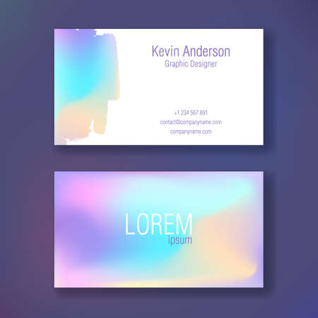 Illustration pour Layout of business cards. Ready to print. Double sided card. Neon color. Spill paint. - image libre de droit