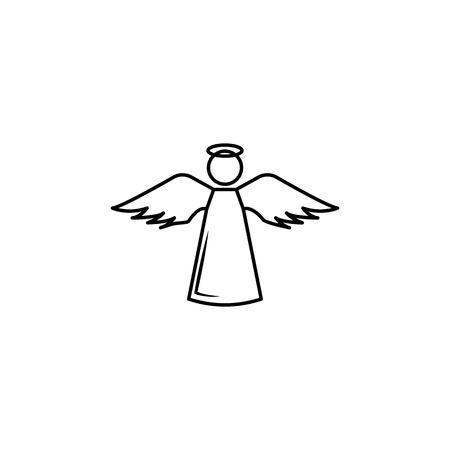 Ilustración de Angel Line Icon On White Background - Imagen libre de derechos