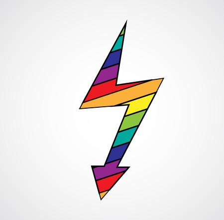Ilustración de Cartoon rainbow comic lightning vector symbol isolated on background - Imagen libre de derechos