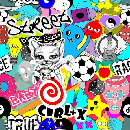 Illustration pour Seamless vector pattern bright colorful stickers characters background, funny graffiti, street art style - image libre de droit