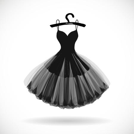 Illustrazione per Little black dress hand drawn vector illustration. - Immagini Royalty Free