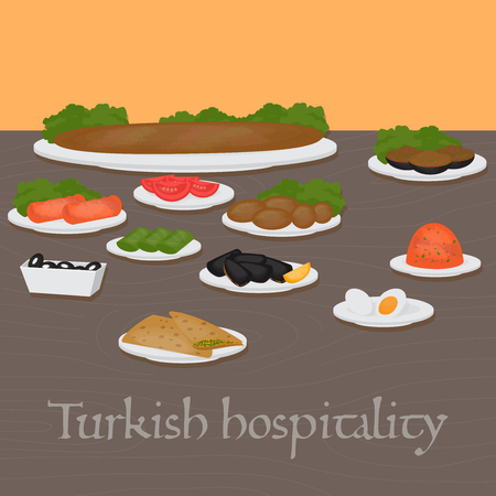 Turkish hospitality Middle East Food. Common main and side dishes, desserts.Traditional food  of Turkish cuisine.