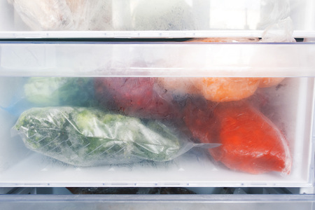 Freezer refrigerator with various frozen foods