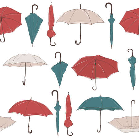 Illustration for Seamless vector background with straight rows of hand drawn umbrellas in sketch style. Red, green and white umbrellas of different foreshortening. - Royalty Free Image