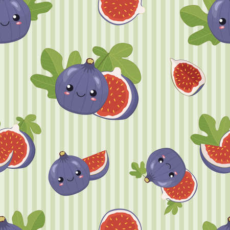 Illustration for Cute cartoon purple figs fruit with smiling faces, leaves, pieces and slices of fig on the green striped background, funny seamless vector pattern for children. - Royalty Free Image