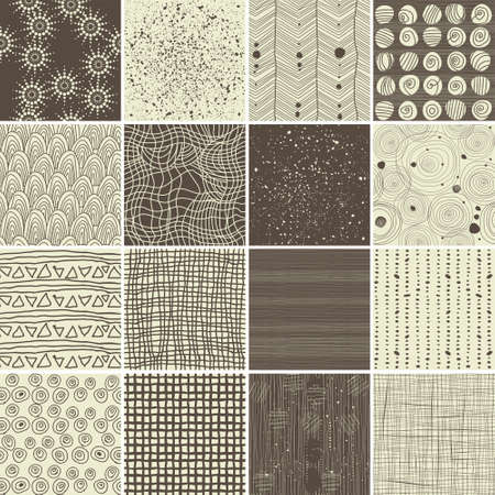 Foto de a set of 16 doodle seamless patterns and textures - Imagen libre de derechos