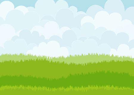 Illustration pour Beautiful simple cartoon meadow on sky background. Can be used as backdrop or print. - image libre de droit