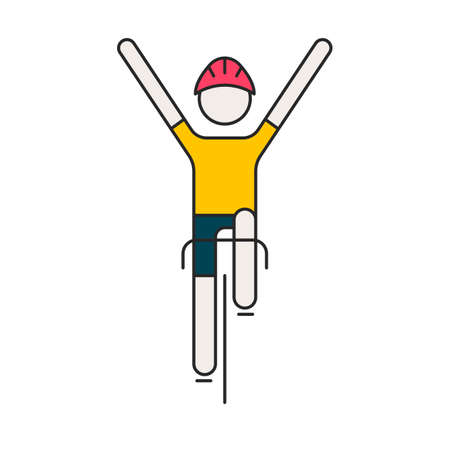 Illustrazione per Modern Illustration of cyclist. Flat bicyclist in yellow jersey isolated on white background. Healthy lifestyle, or bicycle race   concept. Bicycle racer made in trendy thin line style vector. - Immagini Royalty Free
