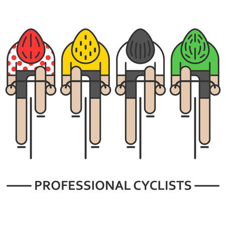 Illustrazione per Four flat bicyclists - Immagini Royalty Free