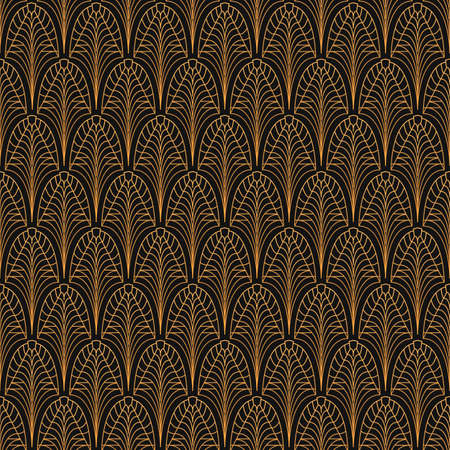 Illustration for Art Deco seamless pattern. Gold on black - Royalty Free Image