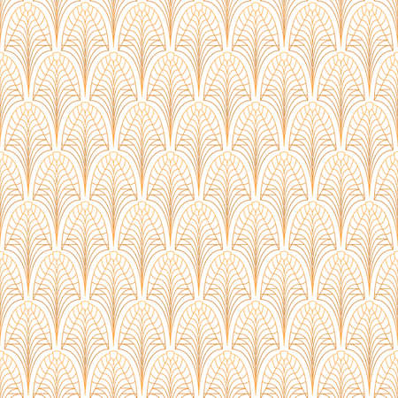 Illustration for Art Deco seamless pattern. Gold on white - Royalty Free Image