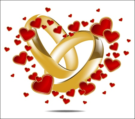 Illustration for Illustration with wedding rings and Red Heart  - Royalty Free Image