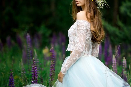 Photo pour Beautiful bride in a blue dress - image libre de droit