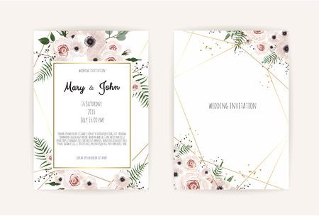 Illustration pour Vector invitation with handmade floral elements. Wedding invitation cards with floral elements. Vector template set - image libre de droit