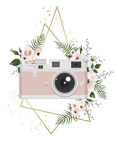 Illustration pour Vintage retro photo camera in flowers, leaves, branches on white background. - image libre de droit