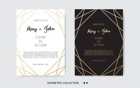 Ilustración de Wedding Invitation card design with Geometrical art lines - Imagen libre de derechos