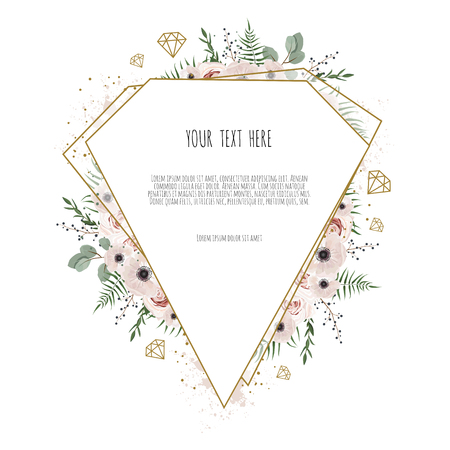 Illustration pour Card with leaves and geometrical frame. Floral poster, invite. Vector decorative greeting card, invitation design background. - image libre de droit