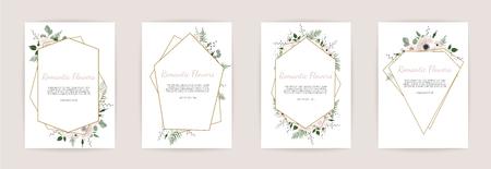 Ilustración de Set botanic card with wild flowers, leaves. Floral poster, invite. Vector layout decorative greeting card or invitation design background. - Imagen libre de derechos