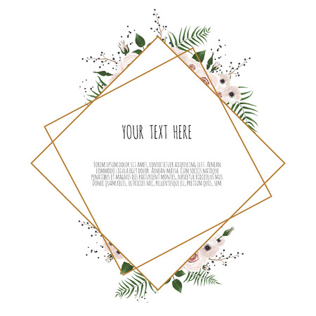Illustration pour botanic card with wild flowers, leaves. Spring ornament concept. Floral poster, invite. Vector layout decorative greeting card or invitation design background. - image libre de droit