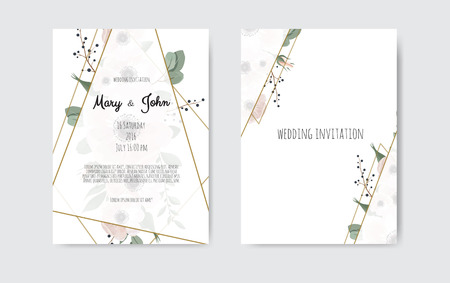 Illustration pour Wedding invite, invitation. Botanical wedding invitation card template design, white and pink flowers. Vector template set - image libre de droit