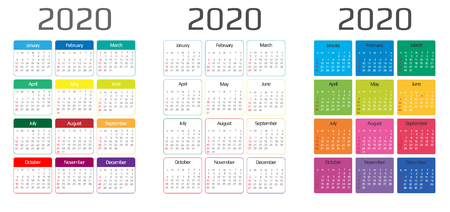 Ilustración de Calendar 2020 template. 12 Months. include holiday event. Week Starts Sunday - Imagen libre de derechos