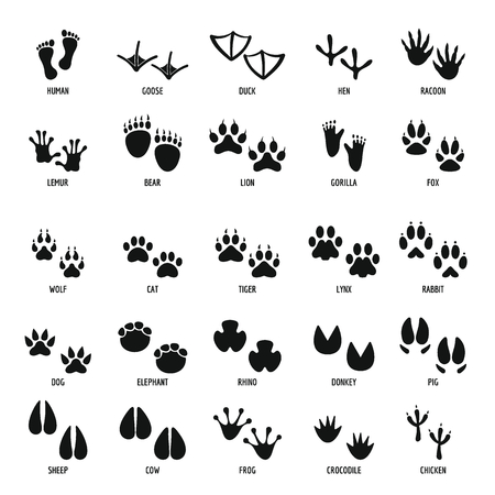 Illustration pour Animal footprint icons set, simple style - image libre de droit