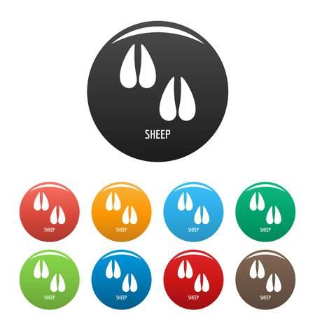 Ilustración de Sheep step icon. Simple illustration of sheep step vector icons set color isolated on white - Imagen libre de derechos