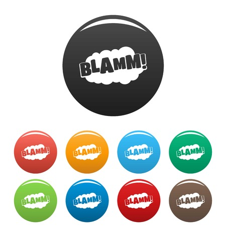 Ilustración de Comic boom blamm icon. Simple illustration of comic boom blamm vector icons set color isolated on white - Imagen libre de derechos