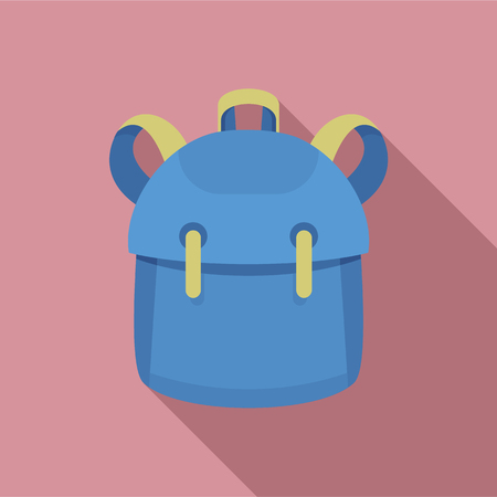 Illustration for Kid backpack icon. Flat illustration of kid backpack vector icon for web design - Royalty Free Image