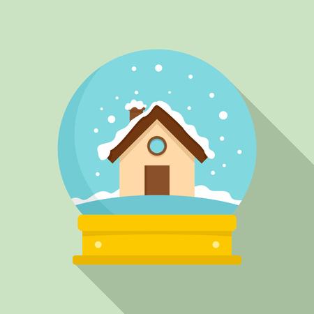 Illustration pour Wood house glass ball icon. Flat illustration of wood house glass ball vector icon for web design - image libre de droit