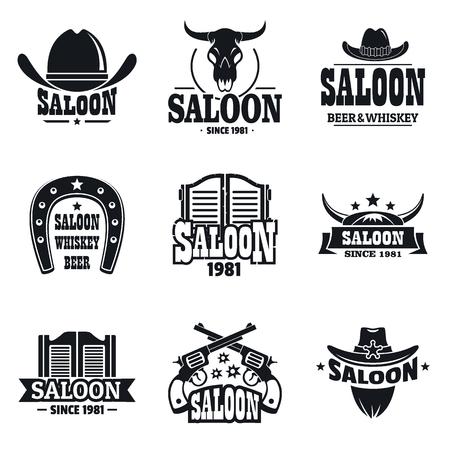 Ilustración de Saloon set, simple style - Imagen libre de derechos