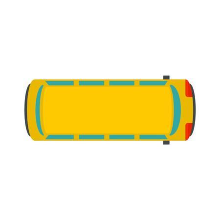 Illustration pour Top view school bus icon. Flat illustration of top view school bus vector icon for web design - image libre de droit