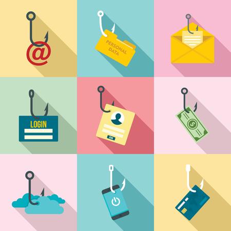 Foto de Phishing icon set, flat style - Imagen libre de derechos