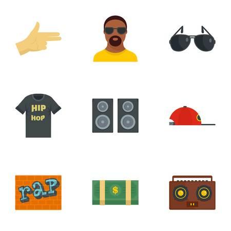 Foto de Street rap icon set, flat style - Imagen libre de derechos