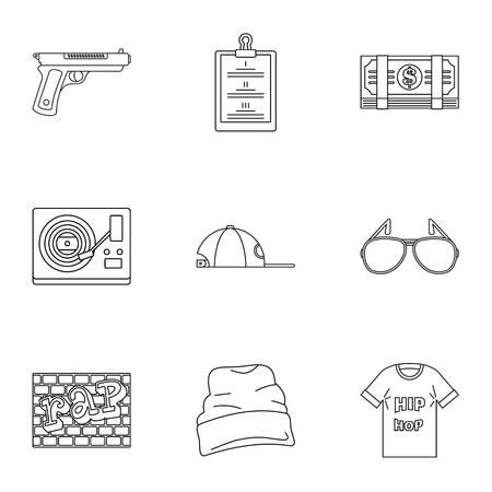 Foto de Street rap icon set, outline style - Imagen libre de derechos