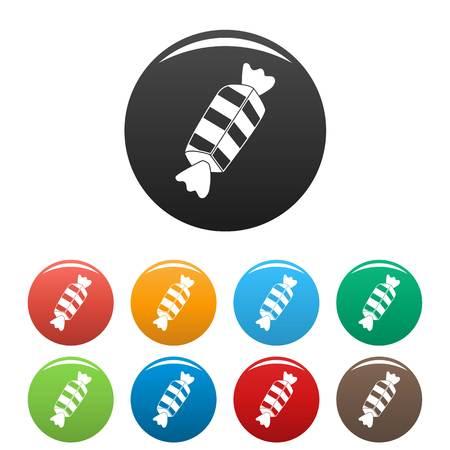 Illustration pour Striped bonbon icons set 9 color vector isolated on white for any design - image libre de droit