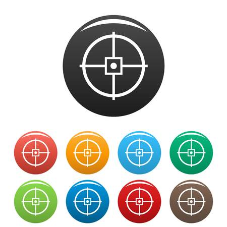Illustration for Point gun aim icons set 9 color vector isolated on white for any design - Royalty Free Image