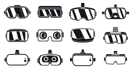 Illustration pour 3d game goggles icons set. Simple set of 3d game goggles vector icons for web design on white background - image libre de droit