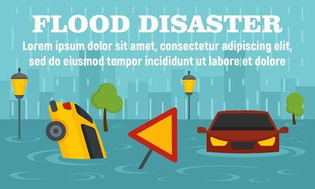 Ilustración de Flood disaster concept banner, flat style - Imagen libre de derechos