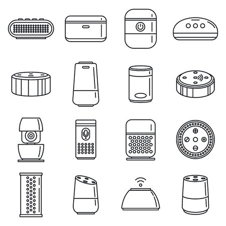 Foto de Home smart speaker icons set, outline style - Imagen libre de derechos