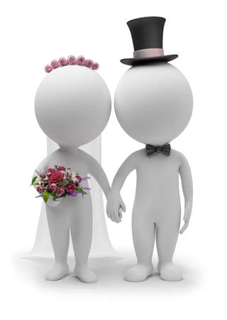 3d small people - wedding of the groom and the bride. 3d image. Isolated white background.